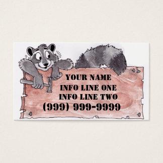 Tarjeta de visita del carpintero del mapache