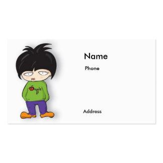 tarjeta de visita del chica del dibujo animado