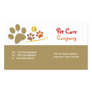 tarjeta de visita del cuidado de animales de