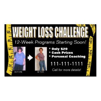 Tarjeta de visita del desafío de la pérdida de pes