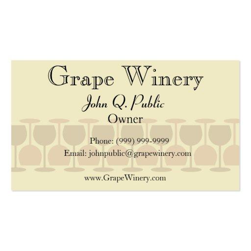 Tarjeta de visita del lagar o del bar de vinos con