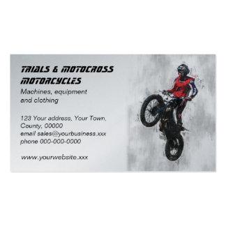 Tarjeta de visita del motocrós de los ensayos