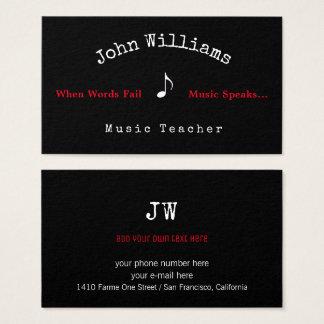tarjeta de visita del negro del profesor de música