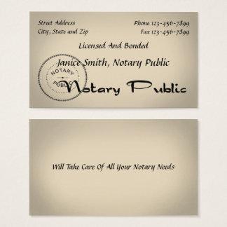 Tarjeta de visita del notario público