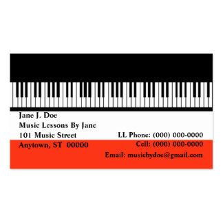 Tarjeta de visita del órgano de los teclados del t