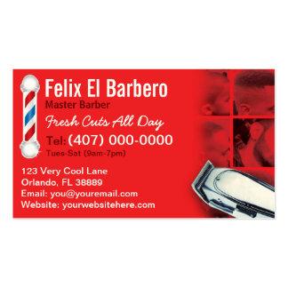 Tarjeta de visita del peluquero (polo de la barber