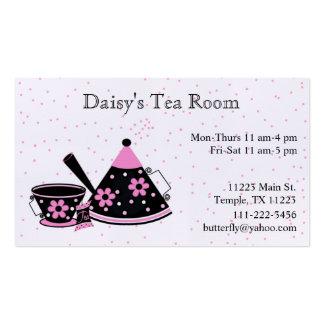 Tarjeta de visita del té rosado y negro y del café