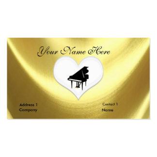 Tarjeta de visita del teclado de piano de cola del