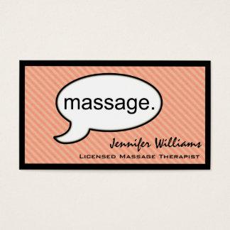 Tarjeta de visita del terapeuta del masaje de la