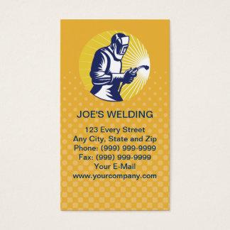 tarjeta de visita del trabajador de la soldadura