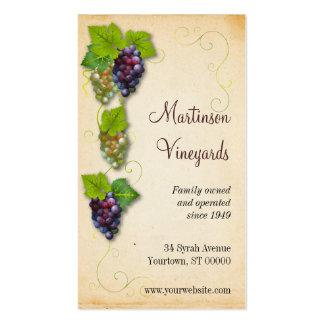 Tarjeta de visita del viñedo