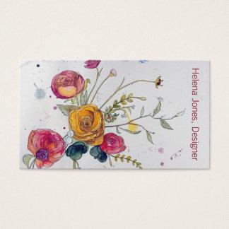 Tarjeta de visita del Wildflower y del Peony de la