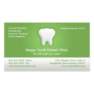 Tarjeta de visita dental con la cita