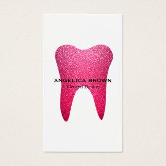 Tarjeta de visita dental del brillo rosado