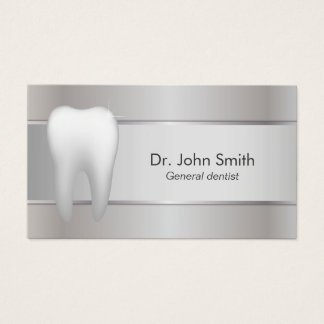 Tarjeta De Visita Dentista de plata profesional dental