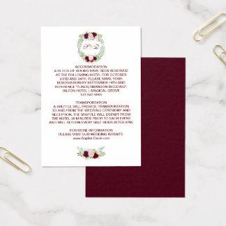 Tarjeta De Visita Detalles florales rústicos del boda de la