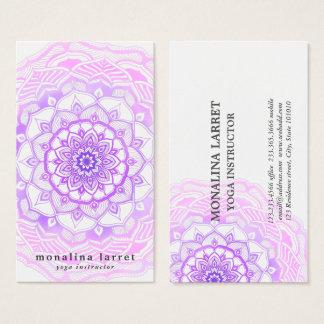 Tarjeta De Visita Dibujo púrpura bohemio tribal de la mandala de la