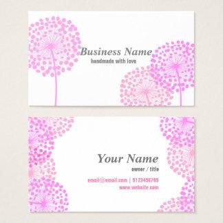 tarjeta de visita - diente de león rosado