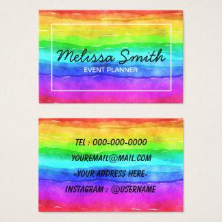 Tarjeta de visita diseñada simple del arco iris