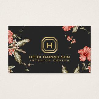 Tarjeta De Visita Diseñador floral de la caja del logotipo del