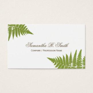 Tarjeta De Visita Diseño elegante del arbolado del helecho verde