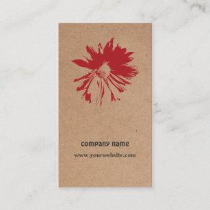 Tarjeta De Visita Diseño floral de Brown Kraft de la flor roja única