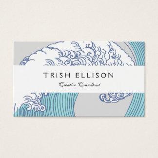 Tarjeta De Visita Diseño japonés de la onda de la impresión de las