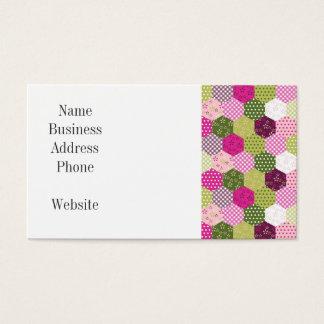 Tarjeta De Visita Diseño verde rosado bonito del edredón de remiendo