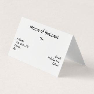 Tarjeta de visita doblada doblez horizontal de tarjeta de visita