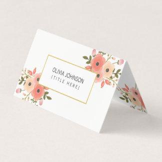 Tarjeta de visita doblada floral elegante