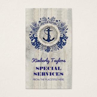 Tarjeta De Visita Driftwood rústico del ancla náutica de la marina