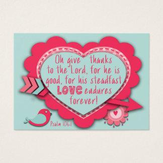Tarjeta De Visita El 106:1 del salmo da gracias que su AMOR aguanta