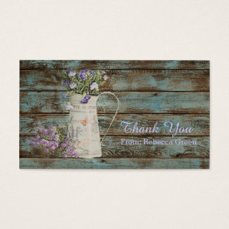 Tarjeta De Visita el boda de madera de la lavanda del granero del