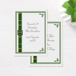 Tarjeta De Visita El boda verde de la cinta del tartán le agradece