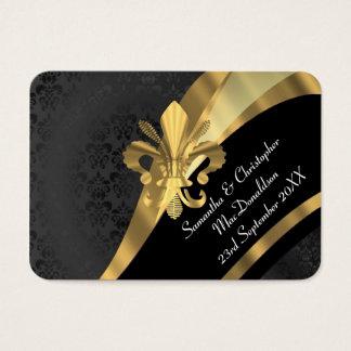 Tarjeta De Visita El damasco negro, favor del boda del oro le