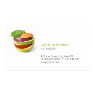 Tarjeta de visita el dietético/del nutricionista/d