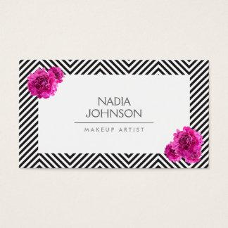 Tarjeta De Visita El modelo blanco y negro con rosa florece belleza