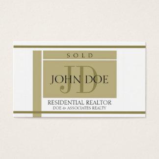 Tarjeta De Visita El oro de la muestra del agente inmobiliario raya