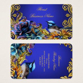 Tarjeta De Visita El oro del pájaro del vintage florece el azul del