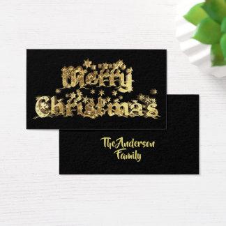 Tarjeta De Visita El oro elegante de las Felices Navidad protagoniza