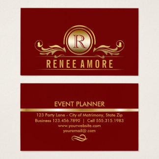 Tarjeta De Visita El oro rojo elegante del planificador de eventos