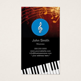 Tarjeta De Visita El piano de los símbolos de música del monograma