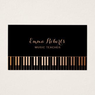 Tarjeta De Visita El piano del profesor de música cierra negro