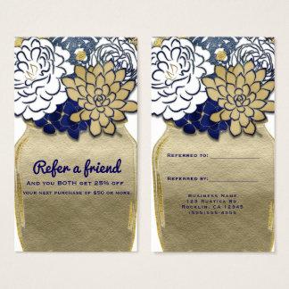 Tarjeta De Visita El tarro de albañil florece el azul rústico del