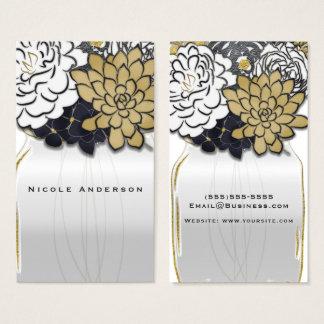 Tarjeta De Visita El tarro de albañil florece moda floral del oro