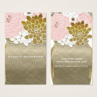 Tarjeta De Visita El tarro de albañil florece moda floral rústica