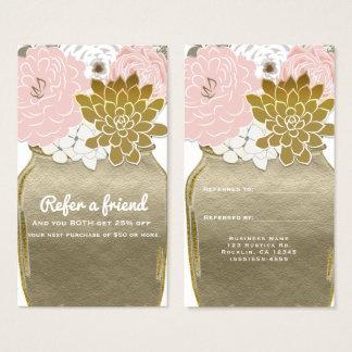 Tarjeta De Visita El tarro de albañil florece rosa rústico del oro