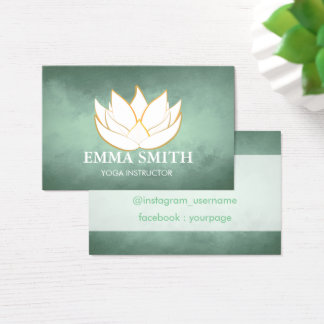 Tarjeta De Visita El verde azul de la flor de Lotus relaja la
