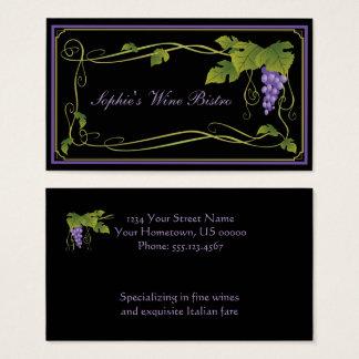 Tarjeta De Visita El verde púrpura de las uvas deja a vides la