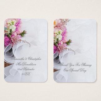 Tarjeta De Visita El vestido floral del rosa y blanco de boda le